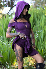 Tulip Hooded Romper with Detachable Hood - Purple