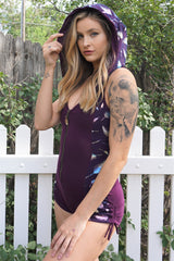 Racer Hooded Romper - Black with Rainbow Holographic Feathers