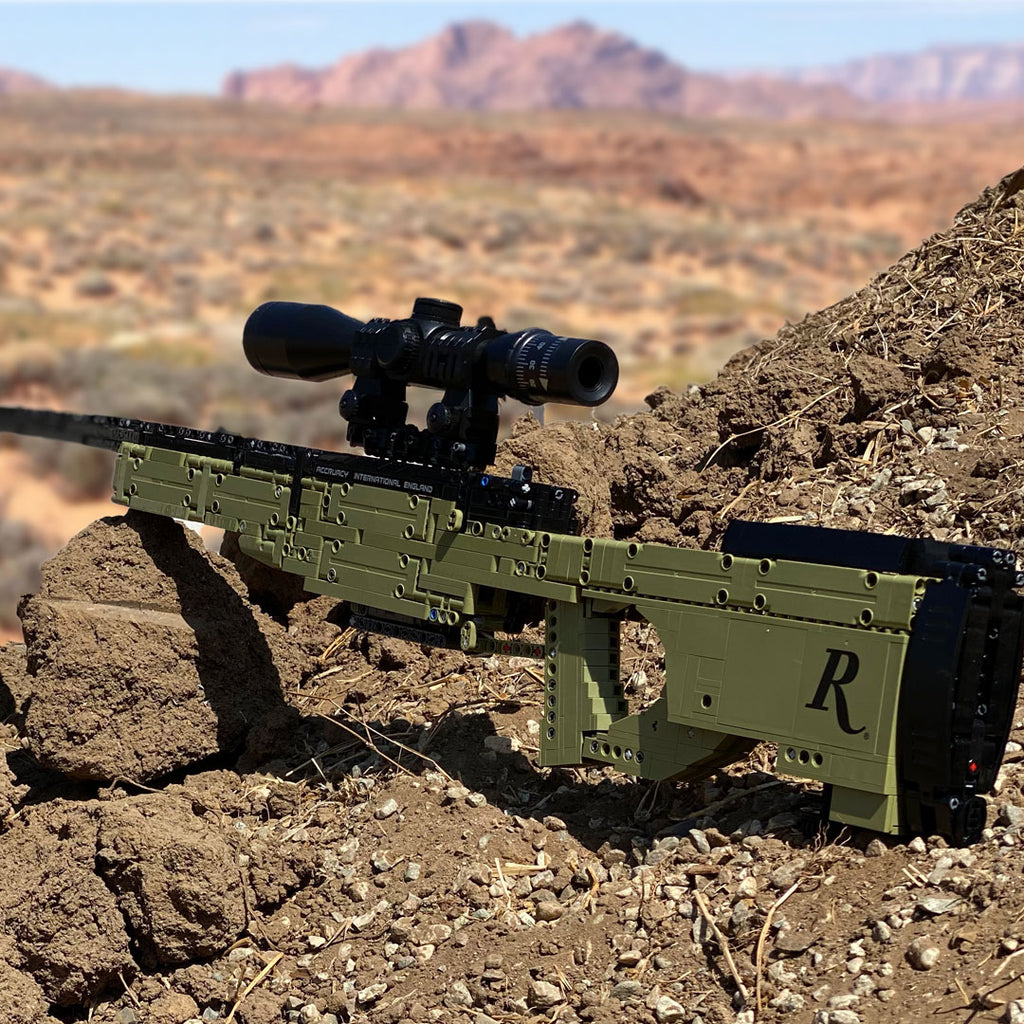 Remington Building Block Rifle Toy in the desert