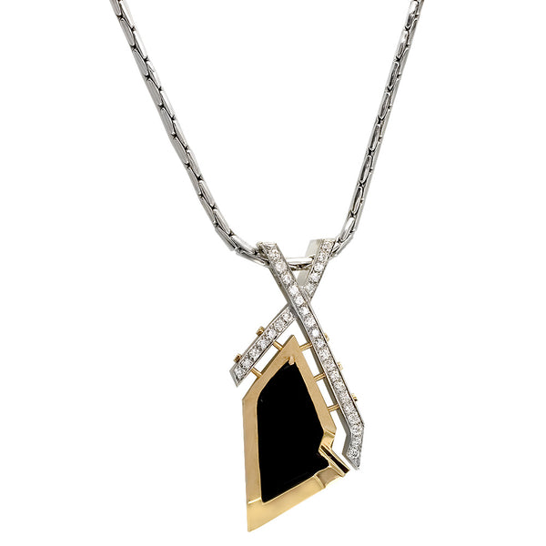 Designer Onyx and Diamond Pendant