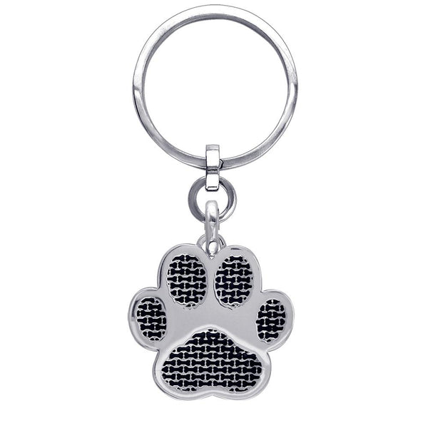 Jumbo Dog Paw Keychain with Black in Sterling Silver