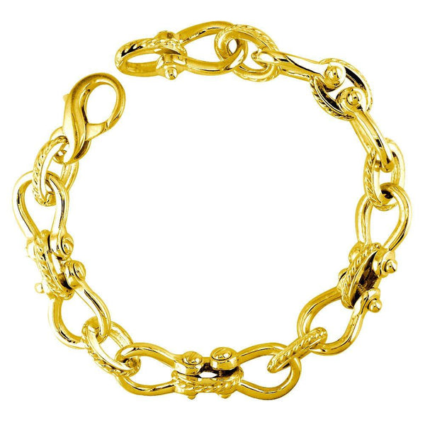 Mens Shackle and Rope Links Bracelet in 14k Yellow Gold