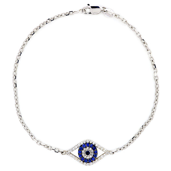 Diamond and Blue Sapphire Evil Eye Bracelet, 7 Inch in 14k White Gold