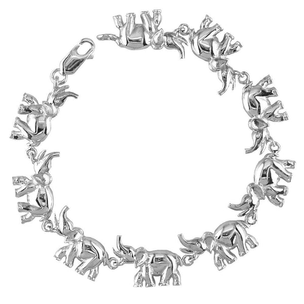 Elephant Link Bracelet, 7.5 Inches in Sterling Silver