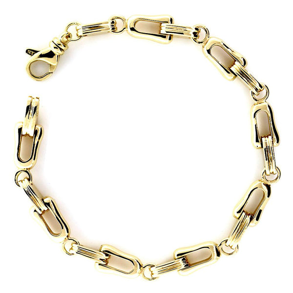 Mens Designer Shackle and Oval Links Bracelet in 14k Yellow Gold, 8.5 Inches