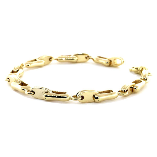 4df1bc699df221 Mens Designer Shackle and Oval Links Bracelet in 14k Yellow Gold, 8.5  Inches ...