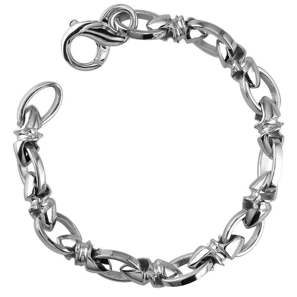Mens Medium Size Twisted Bullet Style Link and Open Oval Links Bracelet in 14k White Gold, 8.5 Inches