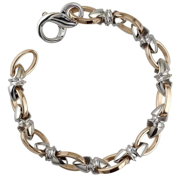 Mens Medium Size Twisted Bullet Style Link and Open Oval Links Bracelet in 14k White and Pink Gold, 8.5 Inches