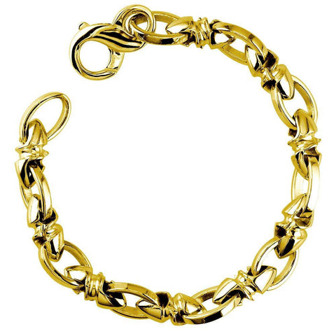 Mens Medium Size Twisted Bullet Style Link and Open Oval Links Bracelet in 14k Yellow Gold, 8.5 Inches