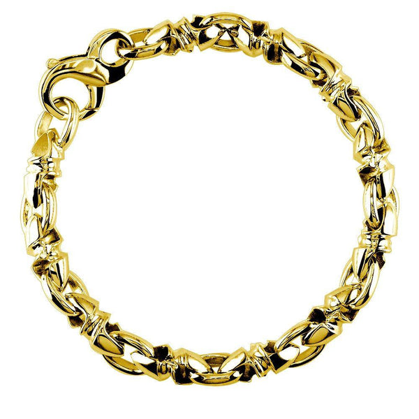 Mens Medium Size Twisted Bullet Style Link Bracelet in 14k Yellow Gold, 8.5 Inches