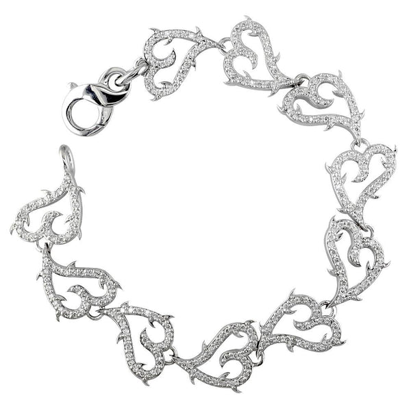 Diamond Guarded Love Heart Bracelet, 2.60 in 14k White Gold