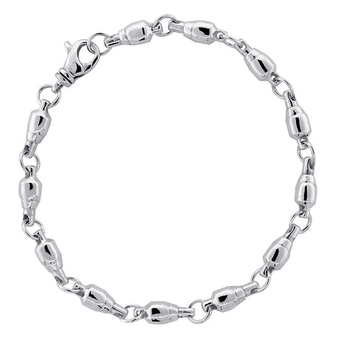 5.5mm Size Fishing Swivel Bracelet in Sterling Silver, 9 Inches