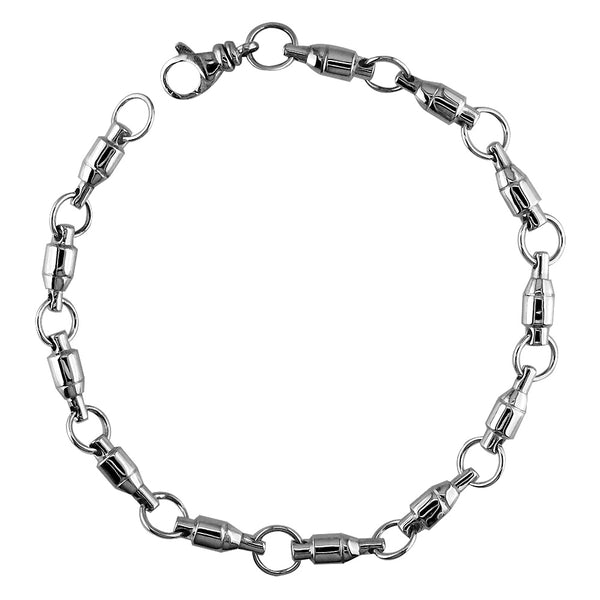 4mm Size Fishing Swivel Bracelet in 14k White Gold, 8 Inches