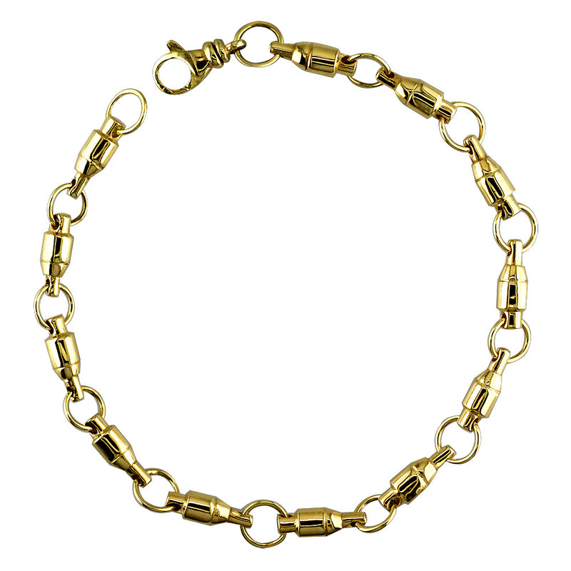 4mm Size Fishing Swivel Bracelet in 14k Yellow Gold, 8 Inches