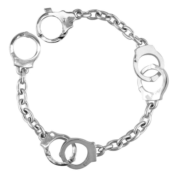 Handcuff Link Bracelet, 3 Pairs, 7.5 Inches in Sterling Silver