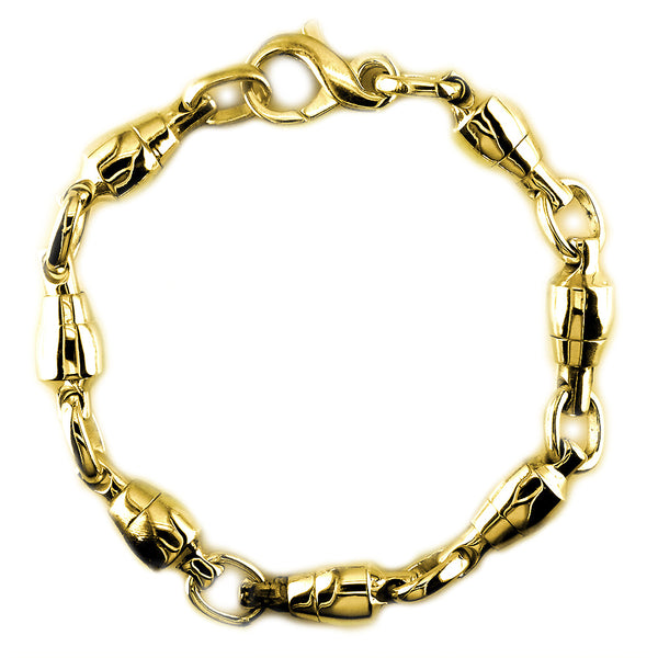 8.5mm Size Fishing Swivel Bracelet in 14k Yellow Gold, 8.5 Inches