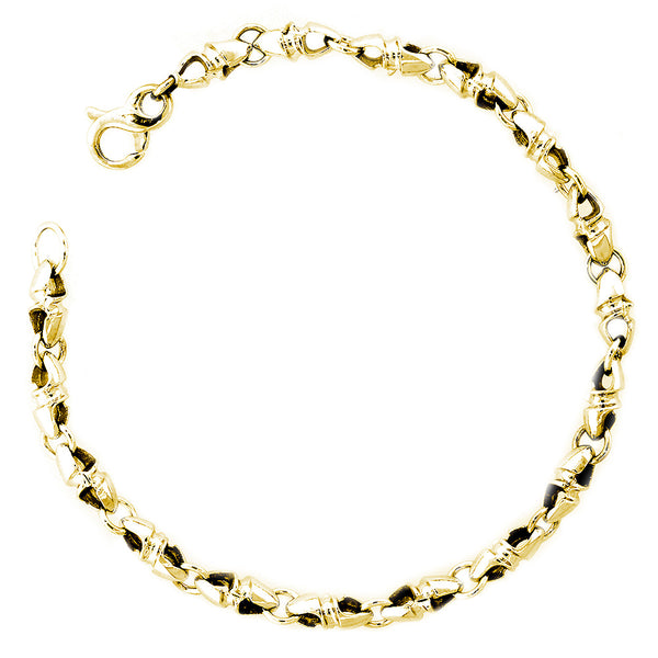 Mens or Ladies Small Size Twisted Bullet Style Link Bracelet in 14k Yellow Gold, 8 Inches