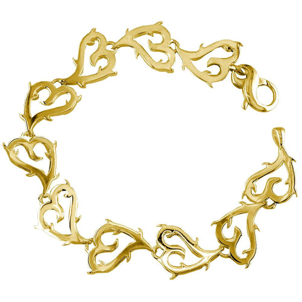 Guarded Love Heart Bracelet in 14k Yellow Gold