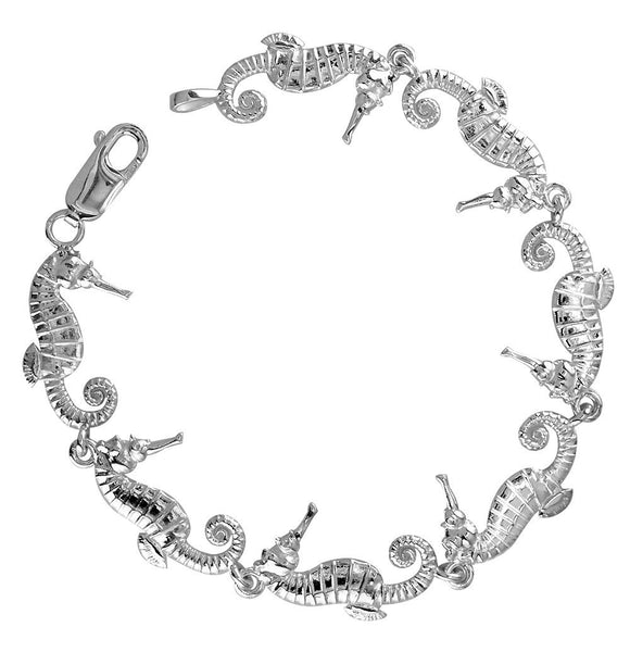 Small Seahorse Links Bracelet in Sterling Silver