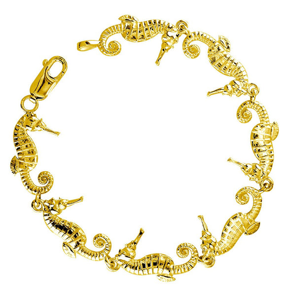 Small Seahorse Links Bracelet in 14k Yellow Gold