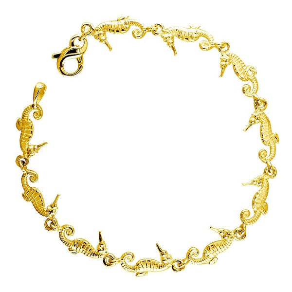 Mini Seahorse Links Bracelet in 14k Yellow Gold
