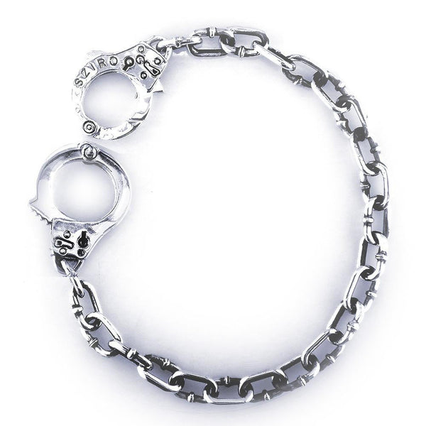 Mens or Ladies Handcuff Link Bracelet in 14k White Gold