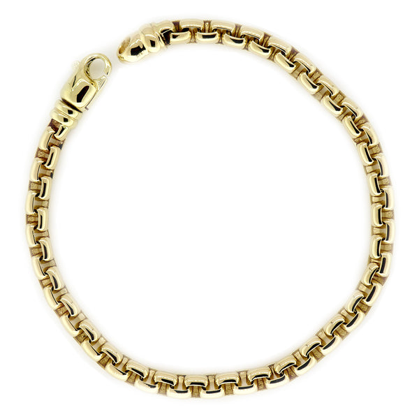 5mm Rounded Box Link Bracelet, 8.5 Inches in 14K Yellow Gold