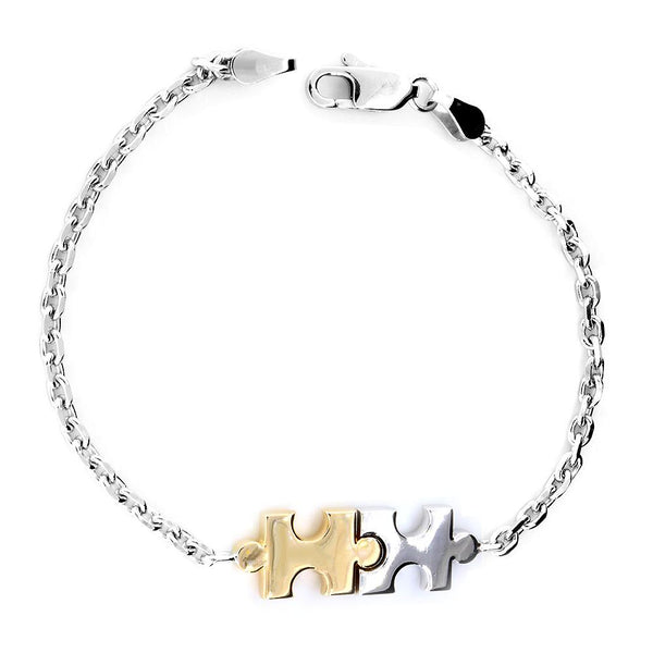 Medium Size Charms Two Tone Autism Puzzle Piece Bracelet in 14k White and Yellow Gold