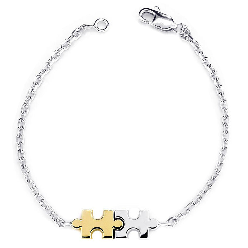 Small Size Charms Two Tone Autism Puzzle Piece Bracelet in 14k White and Yellow Gold