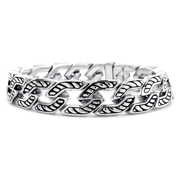 Mens Fancy Link with Nautical Detail Bracelet, 8 Inches in Sterling Silver