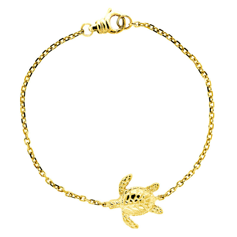 Sea Turtle Bracelet, 7 Inches in 14K Yellow Gold