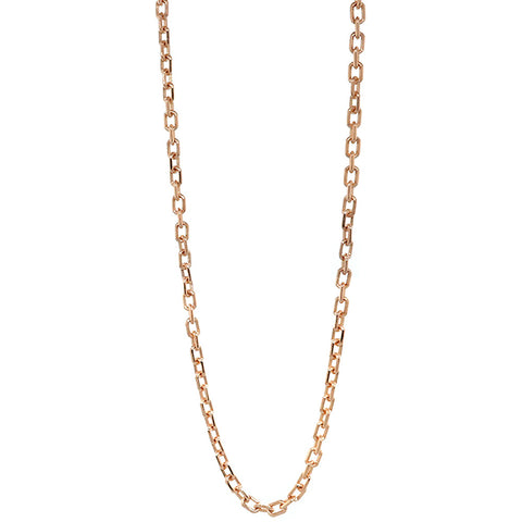3mm Solid Cable Link Chain, 20 Inches in 18K Pink, Rose Gold