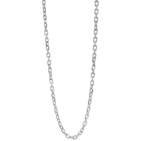 3mm Solid Cable Link Chain, 20 Inches in 18K White Gold