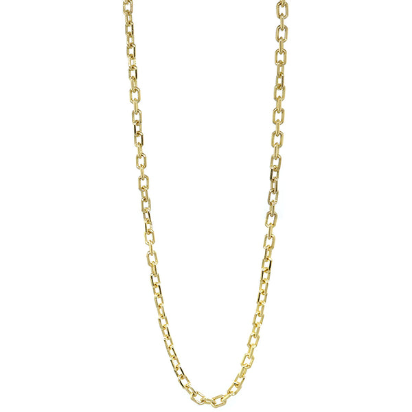 3mm Solid Cable Link Chain, 20 Inches in 18K Yellow Gold