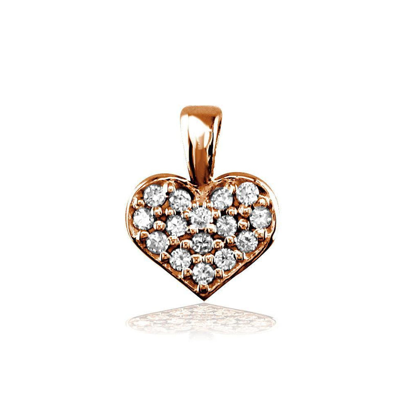 Small Diamond Heart Charm, 0.15CT in 14K Pink Gold