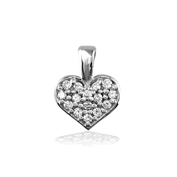Small Cubic Zirconia Heart Charm in Sterling Silver