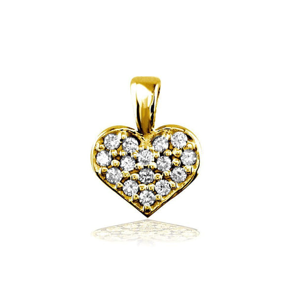 Small Diamond Heart Charm, 0.15CT in 14K Yellow Gold