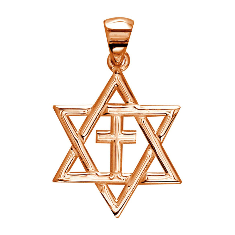 Small Messianic Star of David with Cross Charm in 14k Pink Gold