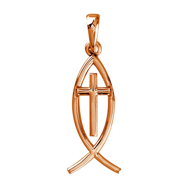 Small Messianic Fish with Cross Charm in 14k Pink Gold