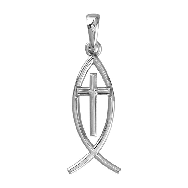 Small Messianic Fish with Cross Charm in Sterling Silver