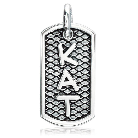 Custom Name Dog Tag Charm with Black and Reptile Texture, Kat in Sterling Silver