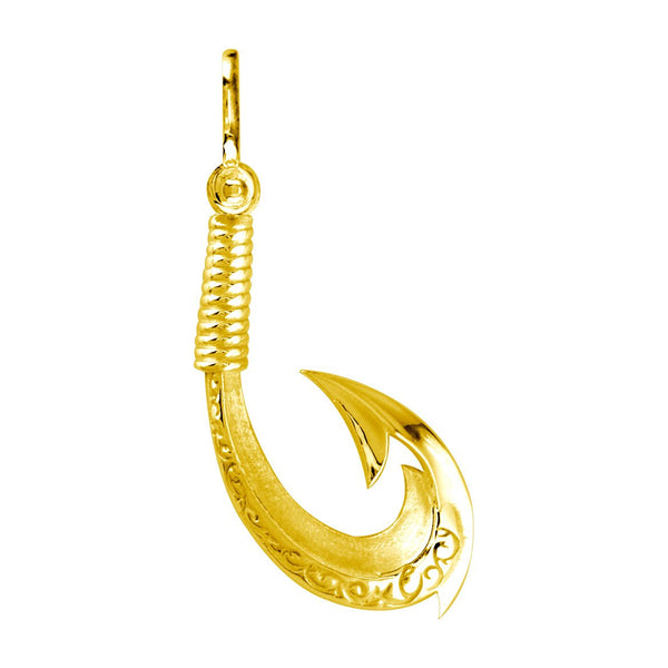 Medium Hei Matau, Maori Tribal Fish Hook Charm in 14k Yellow Gold