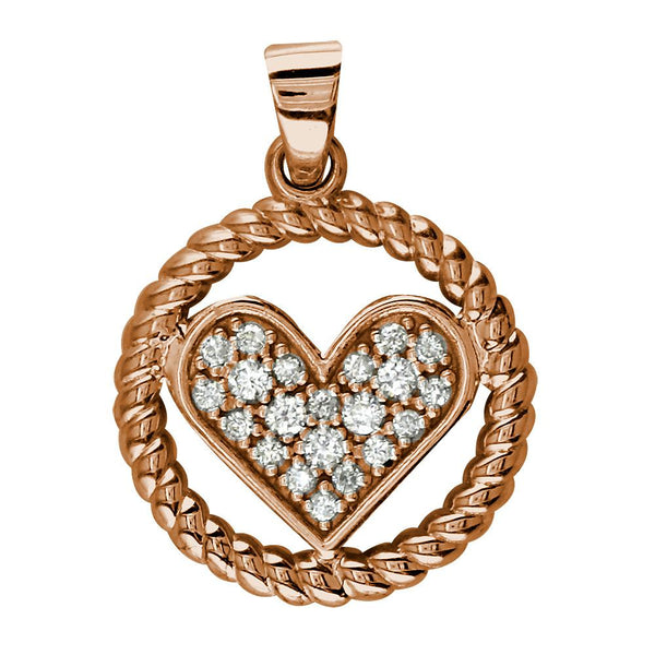 Diamond Heart and Rope Circle Pendant in 14K Pink, Rose Gold