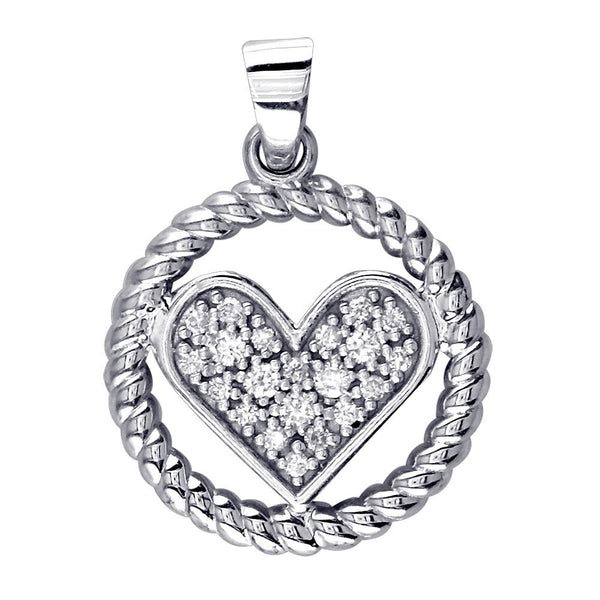 Diamond Heart and Rope Circle Pendant in 18k White Gold