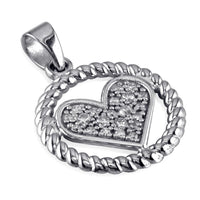 Cubic Zirconia Heart and Rope Circle Pendant in Sterling Silver