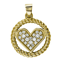Cubic Zirconia Heart and Rope Circle Pendant in 14K Yellow Gold