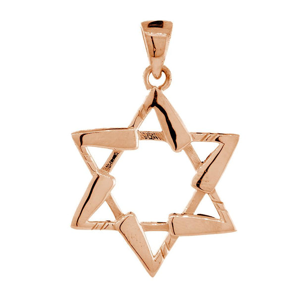 Large Jewish Star of David Hockey Sticks Charm in 18K Pink, Rose Gold