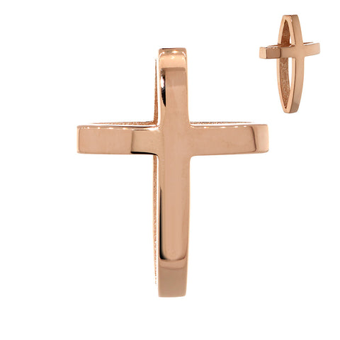 22mm 3D Open Cross Charm in 14K Pink, Rose Gold