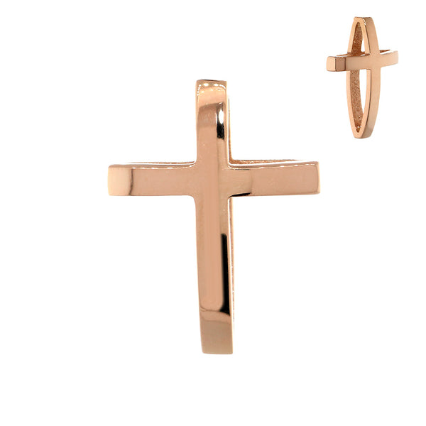 17mm 3D Open Cross Charm in 14K Pink, Rose Gold