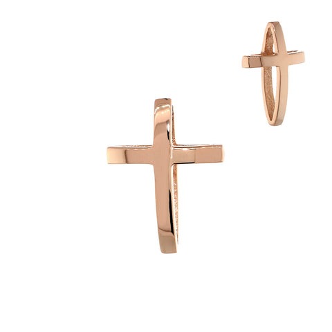 13mm 3D Open Cross Charm in 14K Pink, Rose Gold